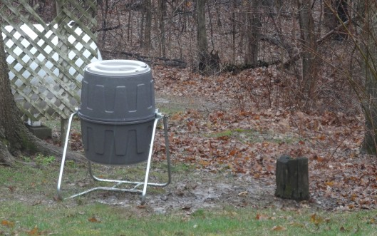 Wood chips are needed around the base of the composter.  But with a closer look, a puddle behind and to the right on the edge of the woods shows an ideal spot for a Blueberry patch.